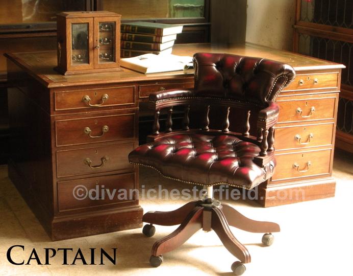 Poltrona da ufficio Chesterfield modello Captain in pelle bordeaux ...