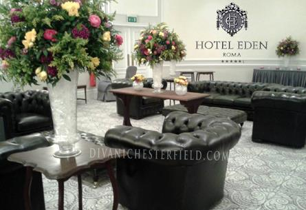 Arredi Chesterfield Antique Green per Evento Privato Hotel Eden - Roma