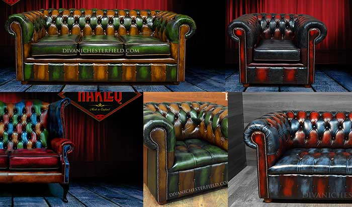 Divani chesterfield vintage patchwork pelli colorate
