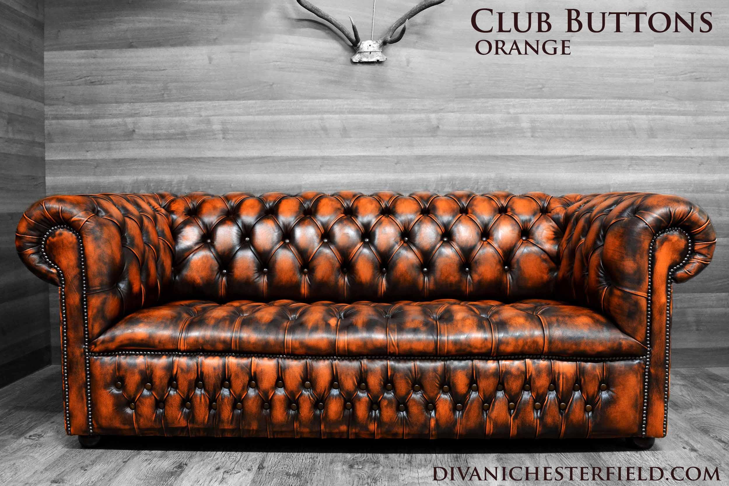 Divani chesterfield vintage pelle arancione nuovi fabbricati in inghilterra - Divano arancione ...