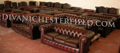 Divani Chesterfield Usati in pelle Vintage Originali inglesi