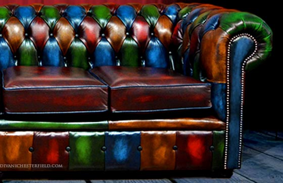 divano chesterfield vintage patchwork