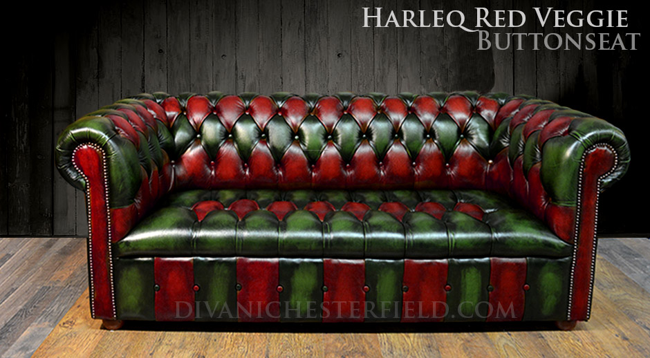 Divano Chesterfield Vintage Patchwork Verde e Rosso, Nuovo Made in ...