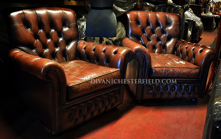 poltrona chesterfield vintage inglese